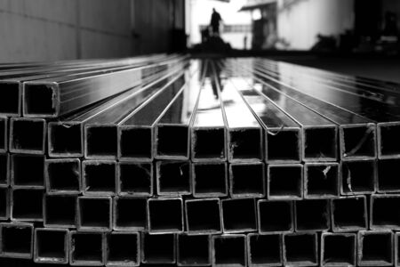 aluminium: abstract of metal square tube for background used
