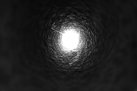 abstract of light at the end of the tunnel