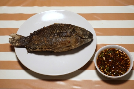 grilled fish salt in Thai food style Stock Photo