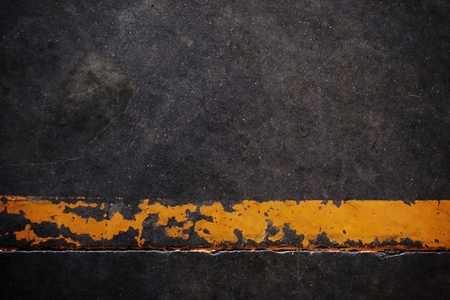 visually: abstract of yellow strip line on concrete floor