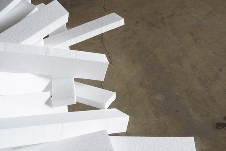 insulated: close up stack of foam in the factory Stock Photo