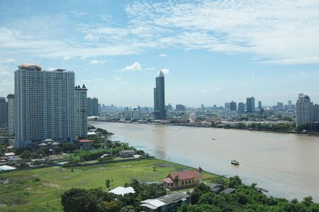 BANGKOK, THAILAND - June 23, 2017: view of the Chao Phraya River June 23, 2017 in Bangkok, Thailand