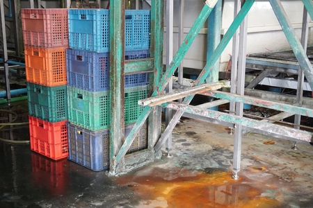 close up chemical water waste in factory