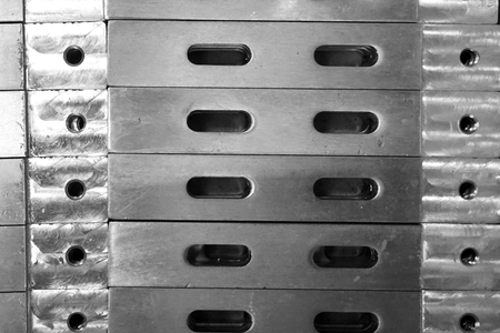 stack of stainless steel plate for background used Фото со стока