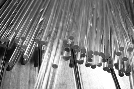 close up group of transparent plastic rod use in factory