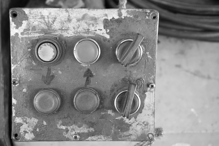 abstract of old control button in the factory Фото со стока - 109014186