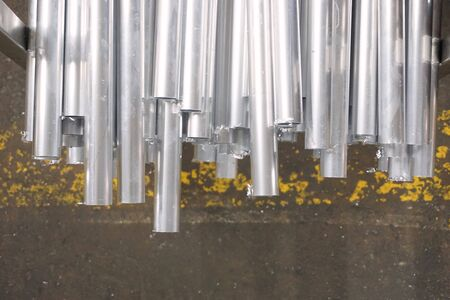 abstract of round metal tube for background used Stock Photo
