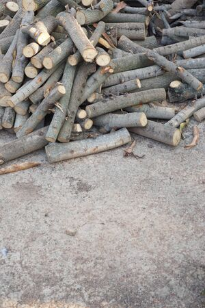stack fire wood parepare for use in contryside of Thailand Stock Photo
