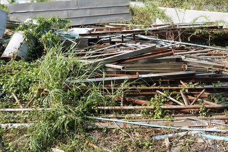 group of scrap material in factory garbage area