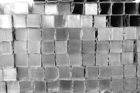 abstract of stack metal cube for background used Stock Photo