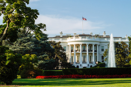 white house: The White House, South Lawn view, Washington DC, USA.
