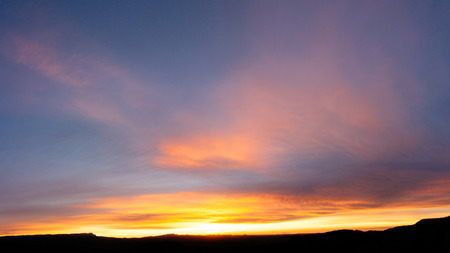 Sun rise and sun set background. Panoramic image. Imagens