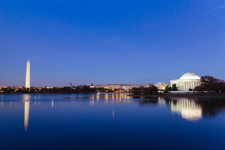 제퍼슨 기념관 Tidal 분 지, 워싱턴 DC, 미국에서. 파노라마 이미지입니다. 스톡 콘텐츠