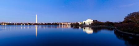 Jefferson Memorial at Tidal Basin,Washington DC, USA. Panoramic image.