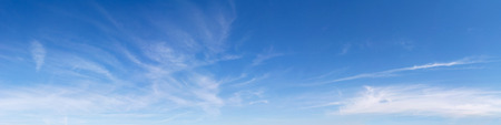 blue sky and fields: Panoramic sky on a sunny day. Stock Photo