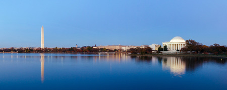 washington monument: Jefferson Memorial at Tidal Basin,Washington DC, USA. Panoramic image.