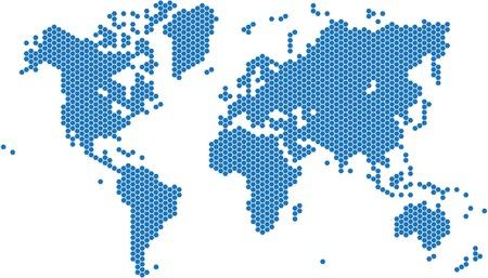world  hexagon: Hexagon shape world map on white background, vector image. Illustration