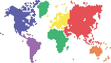 australia map: Hexagon shape world map in various colors by continent.
