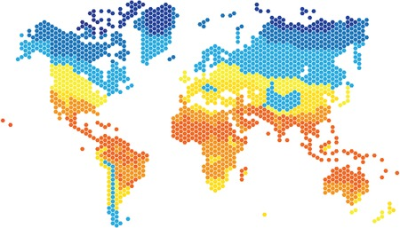 world  hexagon: Hexagon shape world map in various colors by temperature.