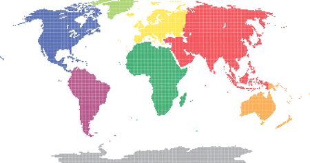 continental: Pixel world map, colored by continental.