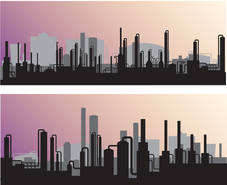 polluted cities: Silhouette industrial landscape:outline of factories and refineries vector illustration. Illustration