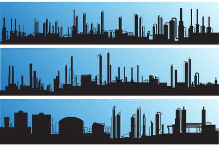 polluted cities: Silhouette industrial landscape:outline of factories and refineries vector illustration. Stock Photo