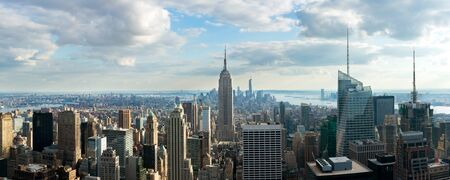 New York City skyline in afternoon before sun set. Panoramic image.