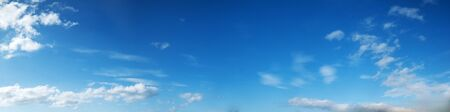 cirrus: Vibrant color panoramic sky with cloud on a sunny day. Beautiful cirrus cloud. Panorama high resolution photograph.