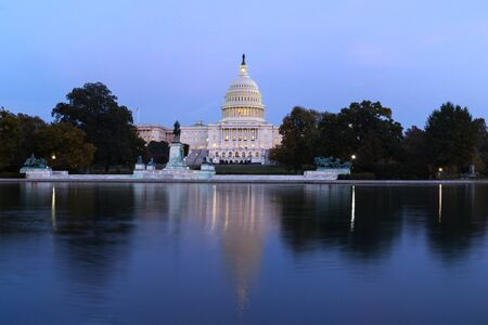 The United States capitol builing on evening. View from the reflection pool. Washington D.C., U.S.A.