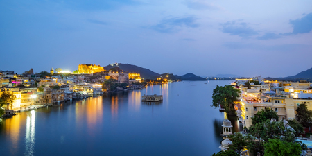 Udaipur city at lake Pichola in the evening, Rajasthan, India.