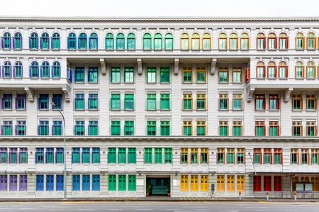 Colourful window shutters of the old building near Clark Quay, Singapore. Archivio Fotografico