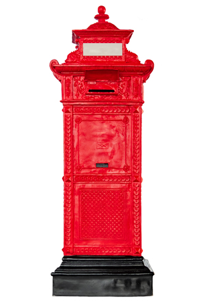 Isolated antique red post mail box on white background. Stock fotó