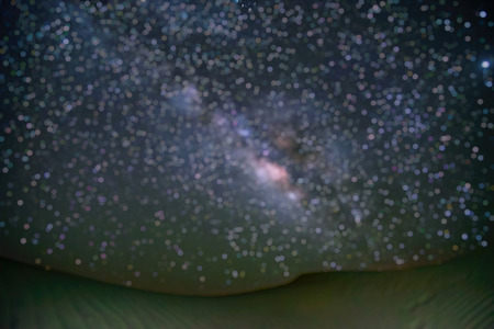 Out of Focus of Milky way galaxy at Tar desert, Jaisalmer, India. Astro photography. Stock Photo