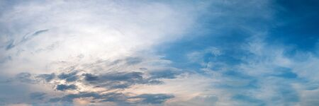 Panorama sky with cloud on a cloudy sunrise or sunset. Panoramic image.