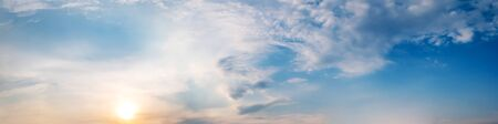 Dramatic panorama sky with cloud on sunrise and sunset time. Panoramic image. Imagens - 127896595