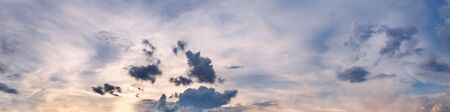 Dramatic panorama sky with cloud on sunrise and sunset time. Panoramic image. Imagens - 127896441