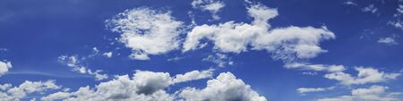 Panorama sky with cloud on a sunny day. Beautiful cirrus cloud.