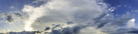 Dramatic panorama sky with cloud on sunrise and sunset time. Panoramic image. Imagens - 127896385