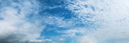 Panorama sky with cloud on a sunny day. Panoramic image.
