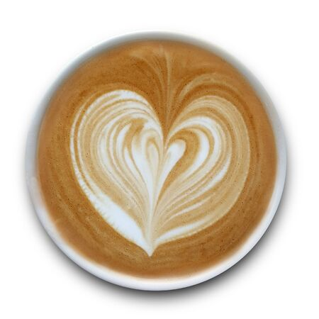 Top view of a mug of latte art coffee isolted on white background. Stockfoto