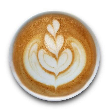 Top view of a mug of latte art coffee isolted on white background.
