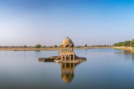 Gadisar lake in the morning at Jaisalmer, Rajasthan, India.