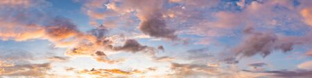 Dramatic panorama sky with cloud on sunrise and sunset time. Panoramic image.
