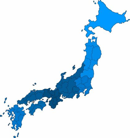 Blue outline Japan map on white background. Vector illustration.