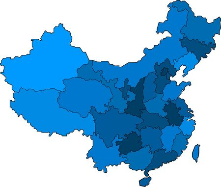Blue outline China map on white background. Vector illustration. Иллюстрация