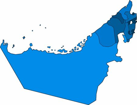 Blue outline United Arab Emirate map on white background. Vector illustration.