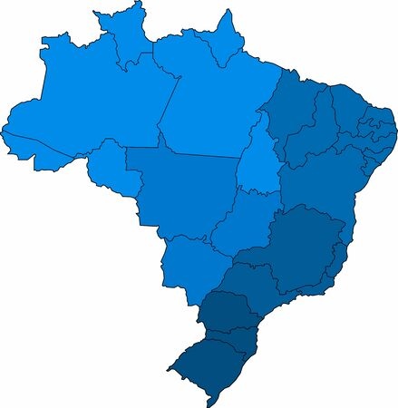 Blue outline Brazil map on white background. Vector illustration.
