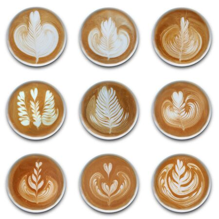 Collection of mugs of latte art coffee isolated on white background.