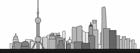 Simplicity outline Shanghai business district skyline on white background. Vector illustration.