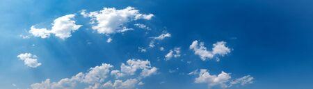 Panorama sky with cloud on a sunny day. Beautiful cirrus cloud. Panoramic image.